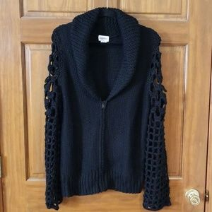 Together Black Knit Zip Front Sweater Size Large